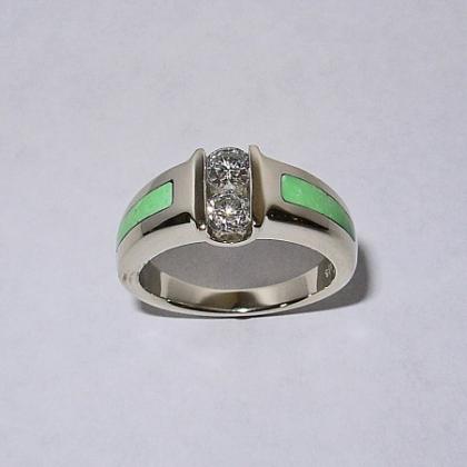 Custom 14 Karat White Gold Ring with Diamond and Turquoise #G0018