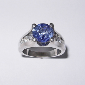Custom 14 Karat White Gold Ring with Sapphire and Diamond #G0007