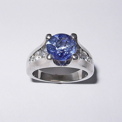 Custom 14 Karat White Gold Ring with Sapphire and Diamond #G0007