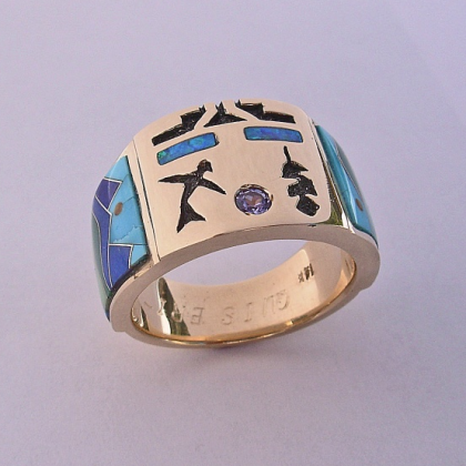 Custom 14 Karat Yellow Gold Mens Ring with Tanzanite and Multi-Stone Inlay #G0020