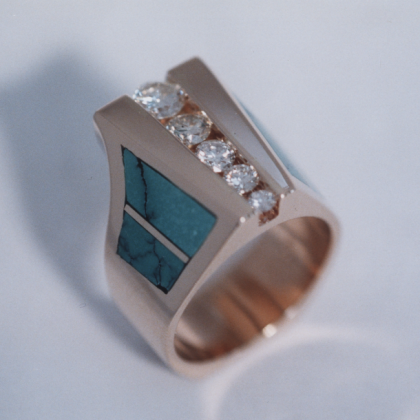 Custom Gold Ring with Diamonds and Turquoise Inlay #G0041