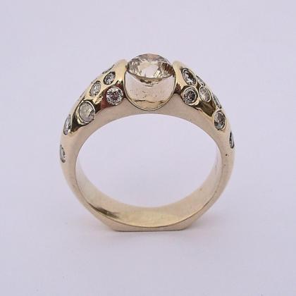 Custom Yellow Gold Ring with Diamonds #G0006