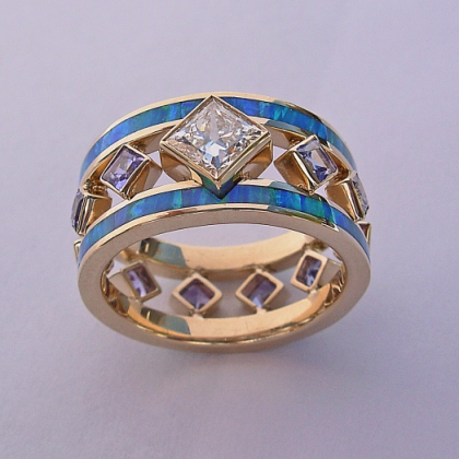 Diamond, Opal, and Tanzanite Mothers Ring #G0004