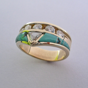 Gold, Diamond, and Turquoise Wedding Band #G0003