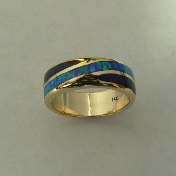 Gold Opal Black Jade Wedding Band #G0027