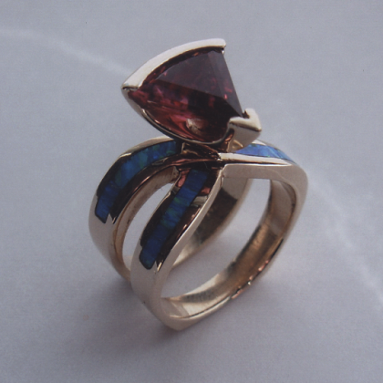 Opal and Pink Tourmaline Ring