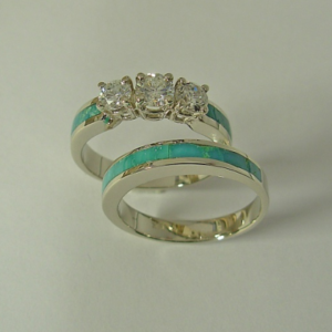 Turquoise Engagement Ring with Turquoise Wedding Band #G0023