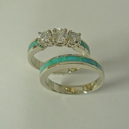 Turquoise Engagement Ring with Turquoise Wedding Band #G0023