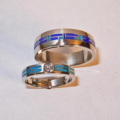 Turquoise Wedding Rings #G0009