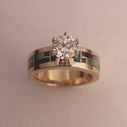 Turquoise and Diamond Engagement Ring #G0045
