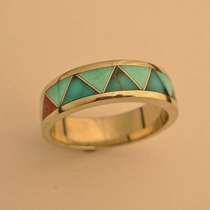 White Gold Wedding Band With Turquoise and Coral Inlay #G0005