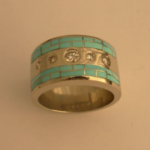White Gold with Turquoise Inlay and Diamonds #G0014