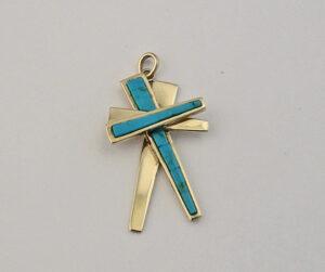 14 Karat Gold and Turquoise Cross Pendant #G0018
