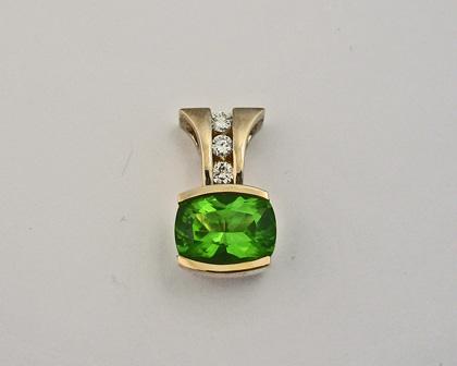 Custom Peridot and Diamond Pendant