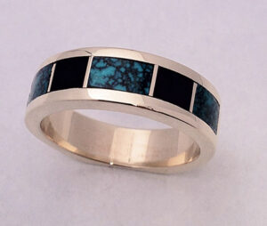 Mens Turquoise and Jet Inlay Ring #G0078
