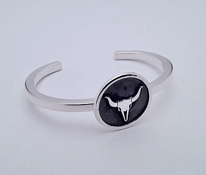 Sterling Silver Cuff Bracelet with Steer Skull Design #G0067
