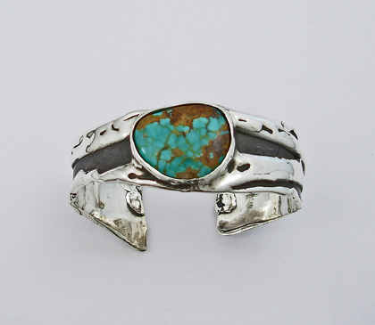 Sterling Silver Freeform Bracelet with Kingman Turquoise  #G0063