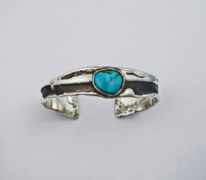 Sterling Silver Freeform Bracelet with Kingman Turquoise #G0064