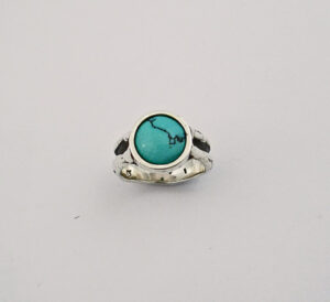 Sterling Silver & Turquoise Ring in a Freeform Design #G0069
