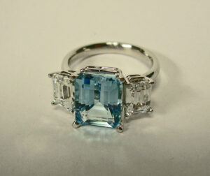 White Gold Ring with Blue and White Topaz #G0066