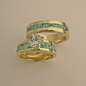 14 Karat Gold Diamond and Turquoise Wedding Set #G0084