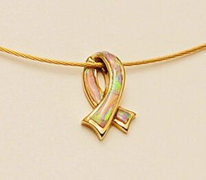 14 Karat Yellow Gold and Pink Opal Breast Cancer Ribbon Pendant #G0090