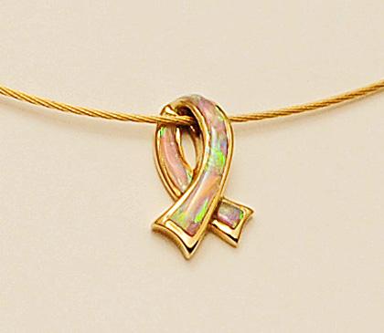 14 Karat Yellow Gold and Pink Opal Breast Cancer Ribbon Pendant #G0090