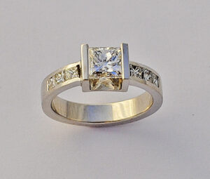 14 Karat Gold and Princess Cut Diamond Engagement Ring #G0095