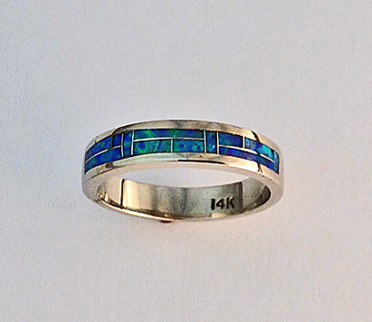 Blue Opal Wedding Band #G0093