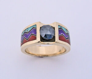 Gold Black Diamond Turquoise Sugalite Coral and Black Jade Ring #G0094