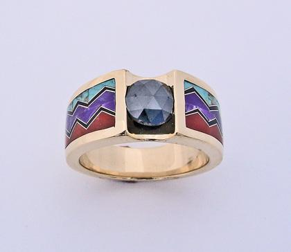 Recent Works 13 – Black Diamond Inlay Ring