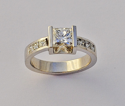 Recent Works 16 – Engagement Ring With Princess Cut Diamonds