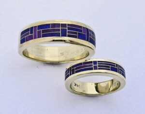 Sugalite and Lapis Wedding Bands #G0097