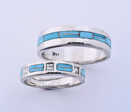 Turquoise Wedding Bands #G0098