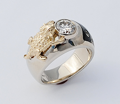 14k White Gold Ring With A Yellow Gold Horny Toad, Diamond, and Inlay