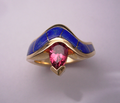 Gold Lapis and Pink Tourmaline Ring #G0099