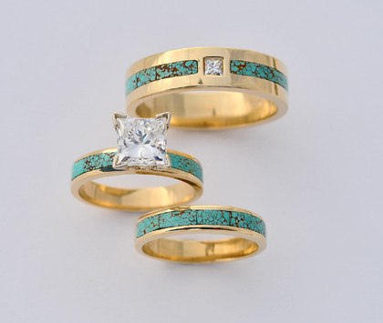 18 Karat Gold Turquoise and Diamond Wedding Set #G0102