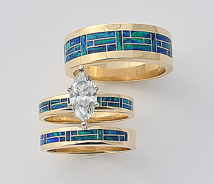 Gold Diamond and Opal Wedding Set #G0103
