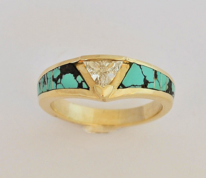14 Karat Gold Engagement Ring with Diamond and Turquoise #G0110