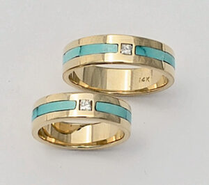 14 Karat Gold Engagement Ring and Wedding Ring Set with Diamond and Turquoise #G0111