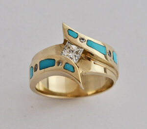 Turquoise Wedding Ring in Gold with Diamond #G0112