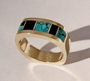 Turquoise and Black Jade Wedding Ring #G0113