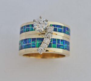 Diamond and Opal Wedding Set #G0117