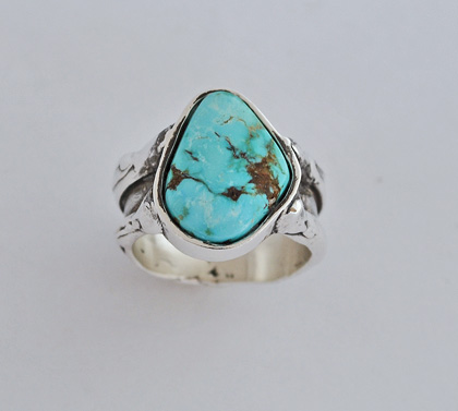 Sterling Silver Ring with Nevada Turquoise Sterling Silver Ring with Nevada Turquoise #G0119