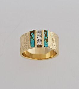 14 Karat Bark Texture Ring with Princess Cut Diamonds and Turquoise Inlay #G0121