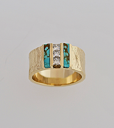 14 Karat Bark Texture Ring with Princess Cut Diamonds and Turquoise Inlay #G0121