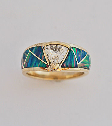 Custom gold ring with Moisanite and Opal inlay