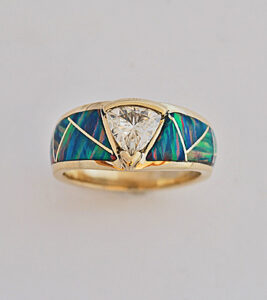 Gold and Moisanite ring featuring Opal inlay #G0123