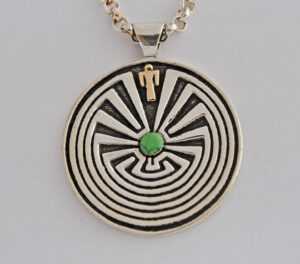 Man in the Maze Pendant in Gold and Sterling Silver #G0122