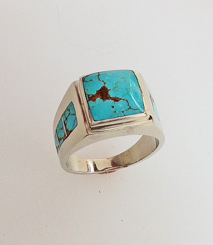 14 Karat White Gold and Turquoise Men's Ring #G0127